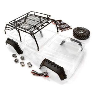 BLACK JPX Scale Body w/ Steel Roll Cage & LED Light for 1/10 Scale Crawler