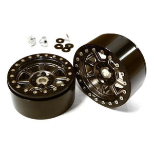 2.2 Size Billet Machined Alloy 8 Spoke Wheel (4) w/ Hex for 1/10 Scale Crawler