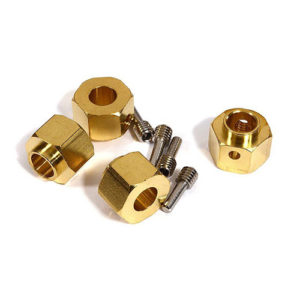 12mm Hex Wheel (4) Hub Brass 10mm Thick for Traxxas TRX-4 Scale & Trail Crawler